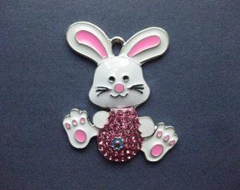 Large Bunny Charm - Bunny Pendant - Rabbit Charm - Animal Charm - Easter Charm - Easter -  Enamel - 46mm x 38mm  -- (No.107-12060)