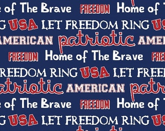 Patriotic - USA Freedom Words Fabric - Blue - sold by the 1/2 yard
