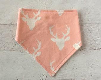 Baby Bandana Bib- Pink Buck-Drool Bib-Deer-Bibdana- Modern Bib