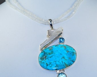 Sleeping Beauty Turquoise with Blue Topaz, Solar Quartz and Moonstone Beads set in Solid 925 Sterling Silver Necklace