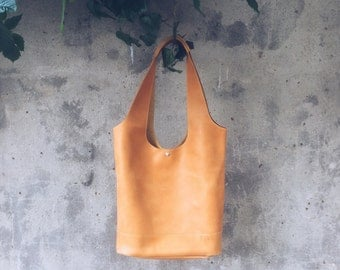 Leather TOTE bag in yellow color / Handmade  genuine leather women's market bag
