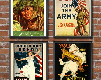 World War 2 Posters ARMY Set of 4 Posters - United States Army - Gifts for Army Girlfriend - Patriotic Decor - World War II Decor 1445