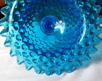 Vintage Fenton Blue Compote/ Candy Glass