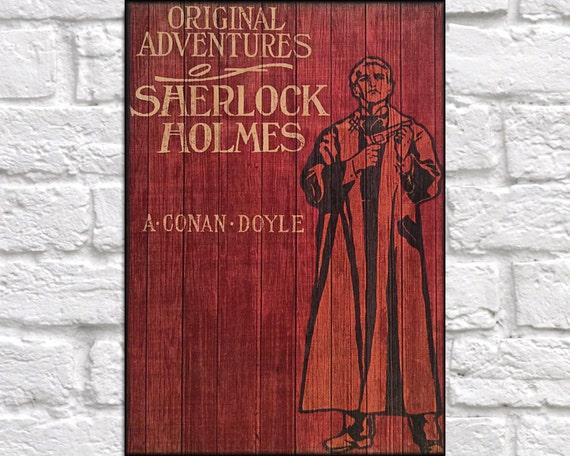 Sherlock Holmes Book Cover Art : Wood sherlock holmes book cover print wall art by