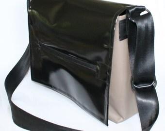 Tarpaulin Bag Black Brown recycled messenger bag