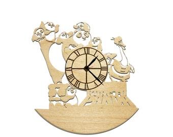 Wood wall clock Panda Kung-Fu