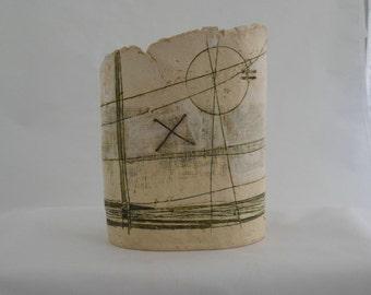 Studio ceramic vase or vessel by Jayne Lucas of Torquil Pottery in Warwickshire. Fine art ceramic piece