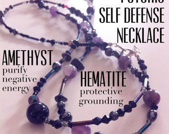 Amethyst & Hematite : Psychic Protection and Defense -- Healing Crystal Magic necklace