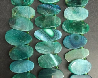 21pcs Green Agate Teardrop Beads Polished agate long Slice,Top drilled Faceted slab Agate graduated agate nugget 15-23x25-43mm