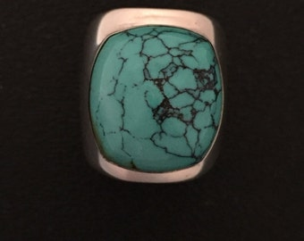 Native American Navajo Matrix Turquoise Sterling Silver Ring Size 8.5
