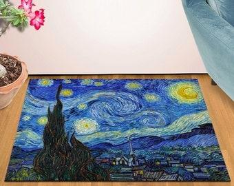 2' x 3' Area Rug Door Mat Van Gogh Starry Night HD