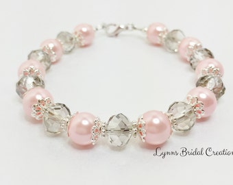 Pink Pearl Wedding Bracelet Silver Crystal Bridesmaid Gift Pink Silver Bridal Party Gift Mother of the Bride Pink Silver Beaded Bracelet