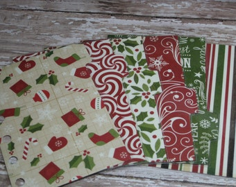 Dividers for Pocket Small Size Planner Winter Snowflakes Christmas Stockings Stripes Peppermint Swirls