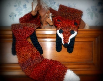 Red Fox Scarf - Cozy Crochet animal scarf -Luxuriously soft! long & super cute NEW wrap for kids and adults