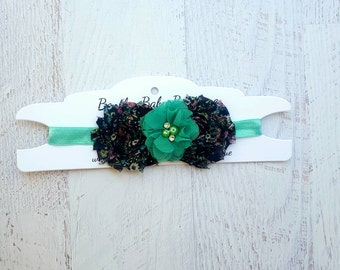Teal and blue baby headband