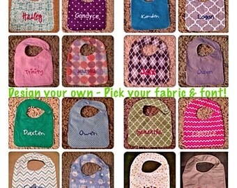 3 Personalized Baby Bibs