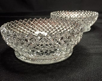 Pair of Vintage Lead Crystal Diamond Pattern Shallow Bowls/Trinket Dish/Jewelry Holder