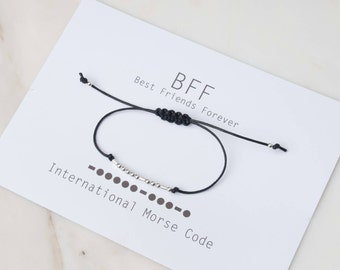 SALE Morse Code, Bff Bracelet, Sterling Bff Bracelet, Friendship Bracelet,Rose Gold Bracelet, Cotton Bracelet, Bff, Best Friends,