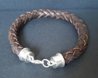 Round braided brown leather bracelet with Sterling Silver caps