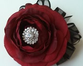 Red Wrist Corsage-Rhinestone Wrist Corsage-Prom Corsage-Homecoming Flowers-Red Wedding Flowers