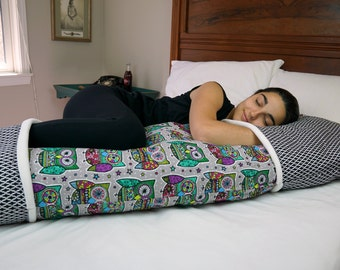 Owl Body Pillow Cover w/ Pockets for Hands & Feet–Purple and Black