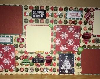 "2 Page 12x12 Premade Scrapbook Page Set-""Christmas"""