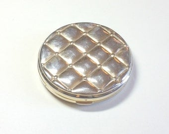 Classic vintage round gold double mirror compact quilted compact gold compact mirror compact purse mirror compact purse accessory 1960s