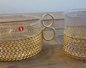 Iittala TSAIKKA Gold Sugar Bowl and Creamer Timo Sarpaneva