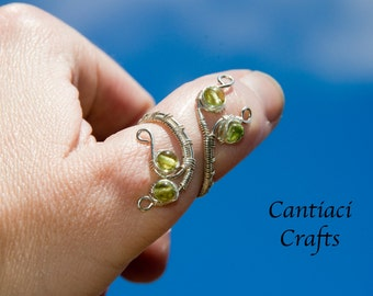 Peridot and sterling silver adjustable ring