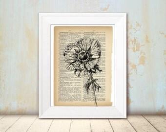 Dictionary print, Anemone print, Flowe clip art, DIY home decor, Hipster room decor