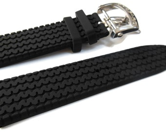 23mm Black Rubber Watch Band Strap With Buckle/Clasp For Chopard Mille Miglia