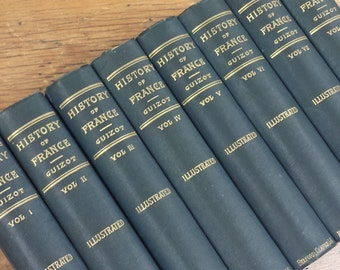 The History of France by Guizot ~ 8 Volume Set ~ Late 1800s
