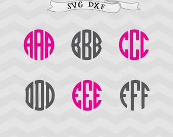Circle Monogram SVG, Circle Monogram Font SVG Files DXF Silhouette Cut Files, Cricut Cut Files Cricut downloads Cricut files Fonts svg