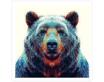 Bear Art Print - Colorful Animals