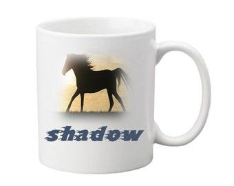 Horse Mug With The Name Of Your Choice 10 0z Ceramic Mug.Tea- Coffee Cup