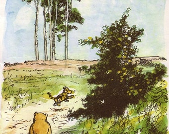 1986 winnie the pooh print with tigger and piglet by E H Shepard