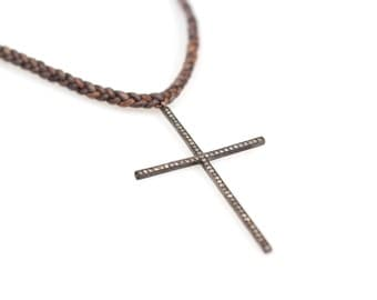 Pave Diamond Cross Necklace on Braided Leather