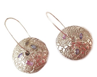 pure silver earrings with tanzanites