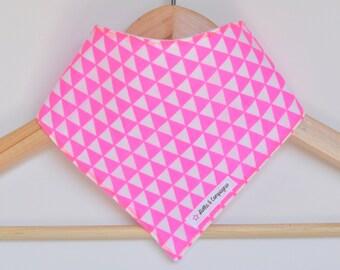 Baby Bandana Bib - Neon Pink Triangles