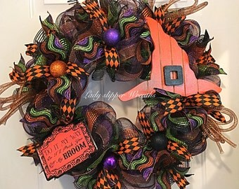 Halloween Wreath, Deco Mesh Wreath, Trick or Treat Wreath, Witch Hat Wreath