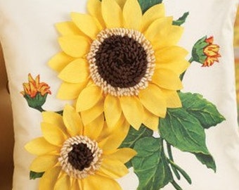 Sunflower Pillow Case/Cover Zipper Easy Access Fall Sunflower home decoration decor Accent Pillow Cover