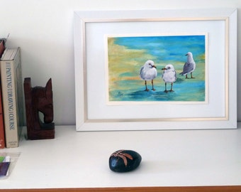 Three little Seagulls, Beach Theme, Nursery Poster, Birthday Gift, Bird image, Nursery, Wall Art, Print of Original Painting, A5,A4.A5 Print