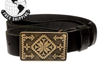 "Leather belt with handmade brass buckle ""Hutsul buckle"""