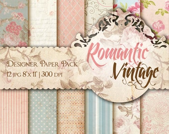 Shabby Chic Digital Paper Shabby Roses Vintage Floral Romantic Paper Printable Shabby Chic Backgrounds Papercraft Scrapbook Parchment Paper