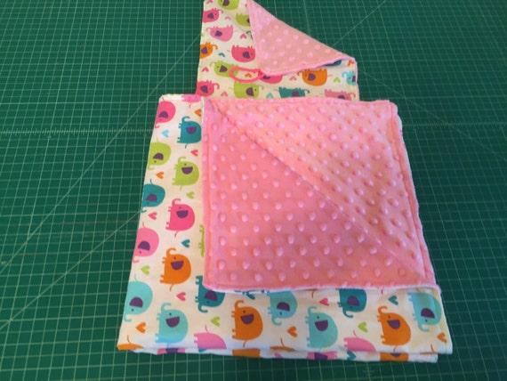 "Colorful Elephant Baby Blanket & Crinkle Toy Blanket Pacifier Crinkle Blanket  Authentic Minky Custom Made  26 1/2""x 26 1/2"""