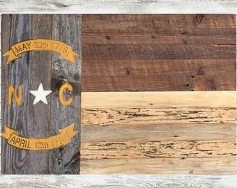 Rustic Barnwood North Carolina Flag