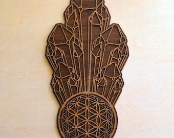 Crystal Cluster Flower of Life Orb Wall Art - Sacred Geometry Laser Cut Art - LaserTrees Item Number LT40111