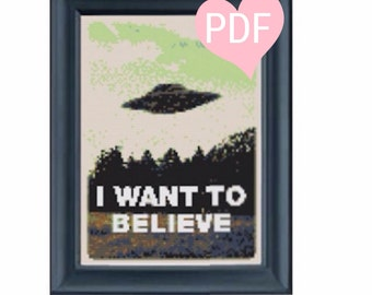 X-Files Cross Stitch I Want To Believe PDF Instant Download CrossStitch Pattern
