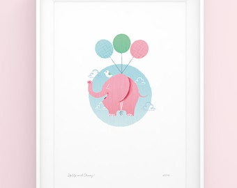 Limited Edition A4 Flying Elephant Art Print - Up, Up and Away