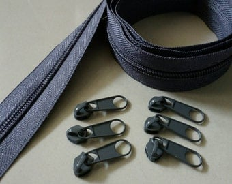 3 Yards  Zipper #5 with 6 Pulls, Grey Zipper by the Yard, Zipper # 5, Zipper by the Yard.